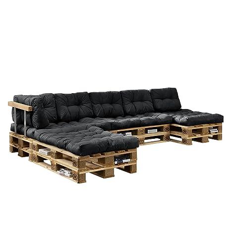 [en.casa] Euro Paletten-Sofa - DIY Möbel - Indoor Sofa mit Paletten-Kissen  / Ideal für Wohnzimmer - Wintergarten (4 x Sitzauflage und 6 x ...