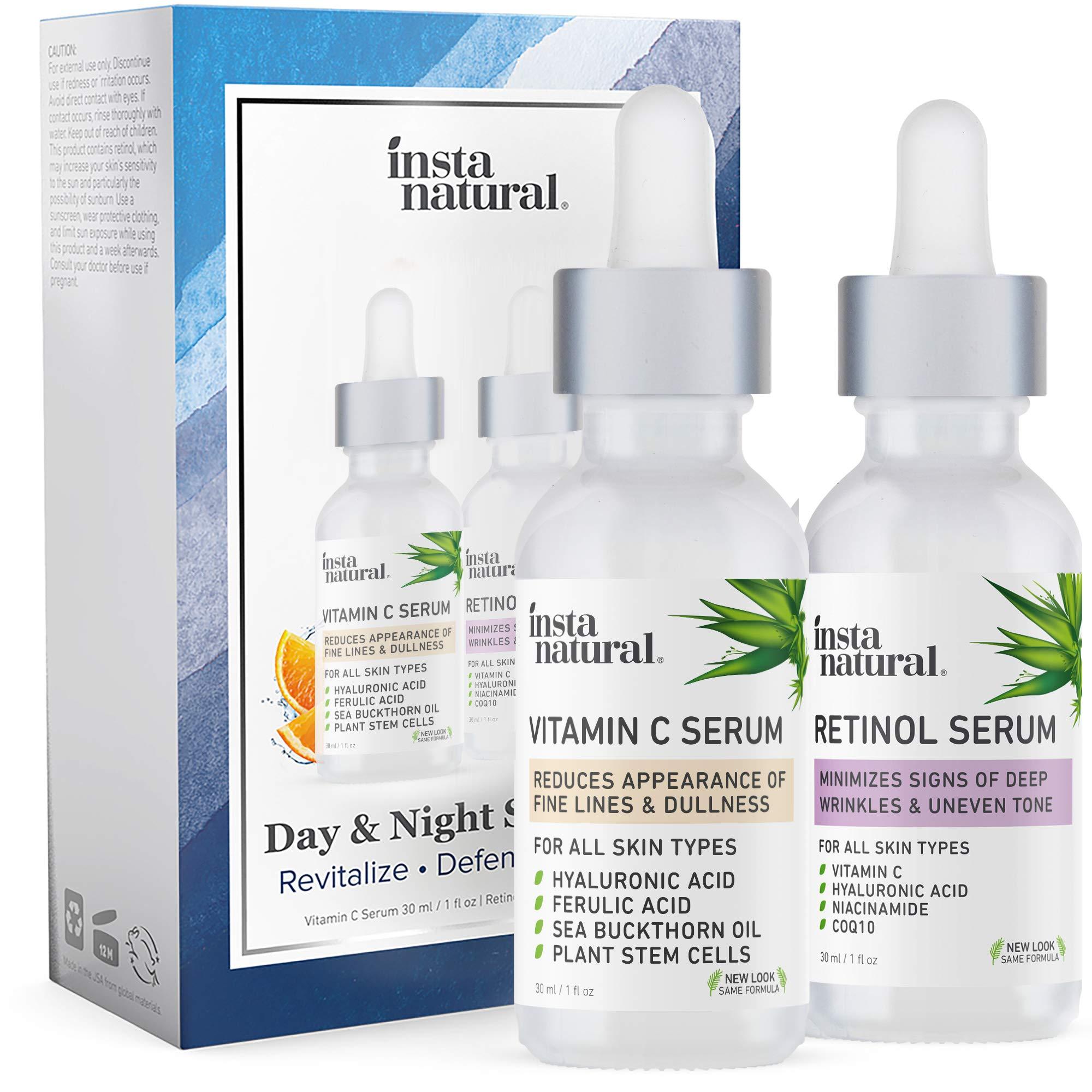Day & Night Duo Facial Serum Bundle - Vitamin C Serum & Retinol Serum - Natural & Organic Anti Aging Formula for Face - Improve Skin Texture & Glow - Reduce Fine Lines Dark Spots Hyperpigmentation - InstaNatural