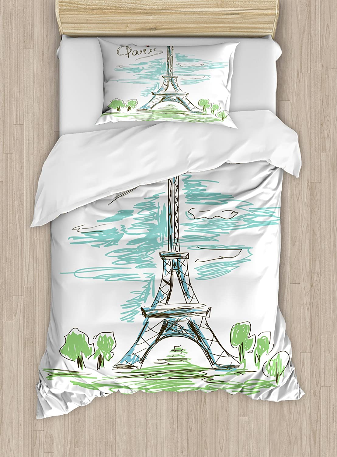 Paris Duvet Cover Set By Ambesonne Touristic Colorful Sketch Of Merk Bed Jacquard Eiffel Tower In French Style