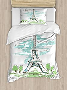 Paris Duvet Cover Set by Ambesonne, Touristic Colorful Sketch of Eiffel Tower in Paris French Style Travel Illustration, 2 Piece Bedding Set with Pillow Sham, Twin / Twin XL, Multicolor