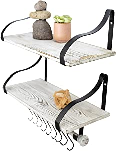 "Wall Mounted Floating Spice Shelves with Towel Bar and Removable Hooks, Solid Wood, Rustic Shelving Storage, for Kitchens, Bathrooms and More, Farmhouse Wall Décor, 16.75"" Long x 7.5"" (White Washed)"
