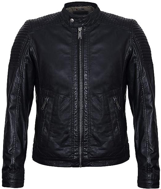 Infinity Leather Chaqueta Motera Moto de Cuero Nappa Negra Genuina para Hombre: Amazon.es: Ropa y accesorios