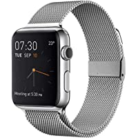 Zaft Adjustable Stainless Mesh Steel Loop Wristband for Apple Watch Band (Silver)