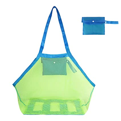58fcbad7d157 G4Free Portable Beach Mesh Tote Bag (2pack) Large &Small Sturdy Toy Bags  Shell,Toys,Towels, Groceries Sand Can Ideal for Beach, Pool,Boat