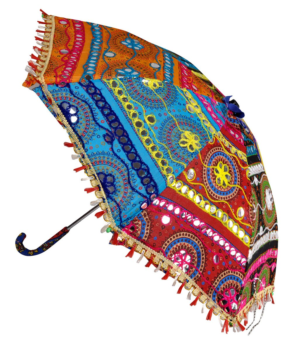 Indian Embroidery Work Design Sun Base Umbrella 21 x 26 Inch