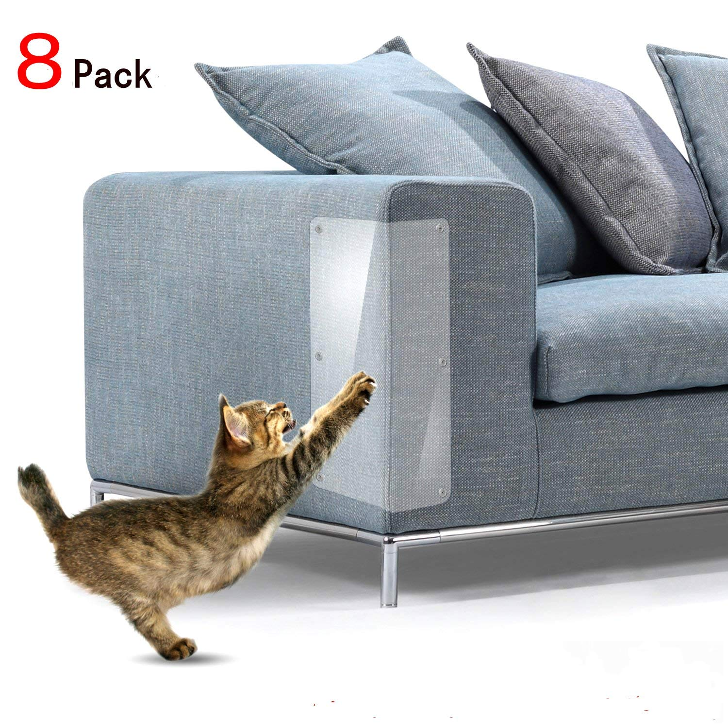 8 Pcs Cat Furniture Protectors,4 Pack X-Large (20''L x 12''W) + 4 Pack Large (20''L x 8''W) Cat Scratching Pad, Pet Scratch Protector for Sofa,Upholstery, Wall, Mattress