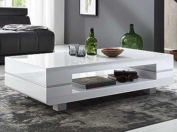 Couchtisch Weiss Hochglanz Sapri 120x70cm Designer Wohnzimmertisch