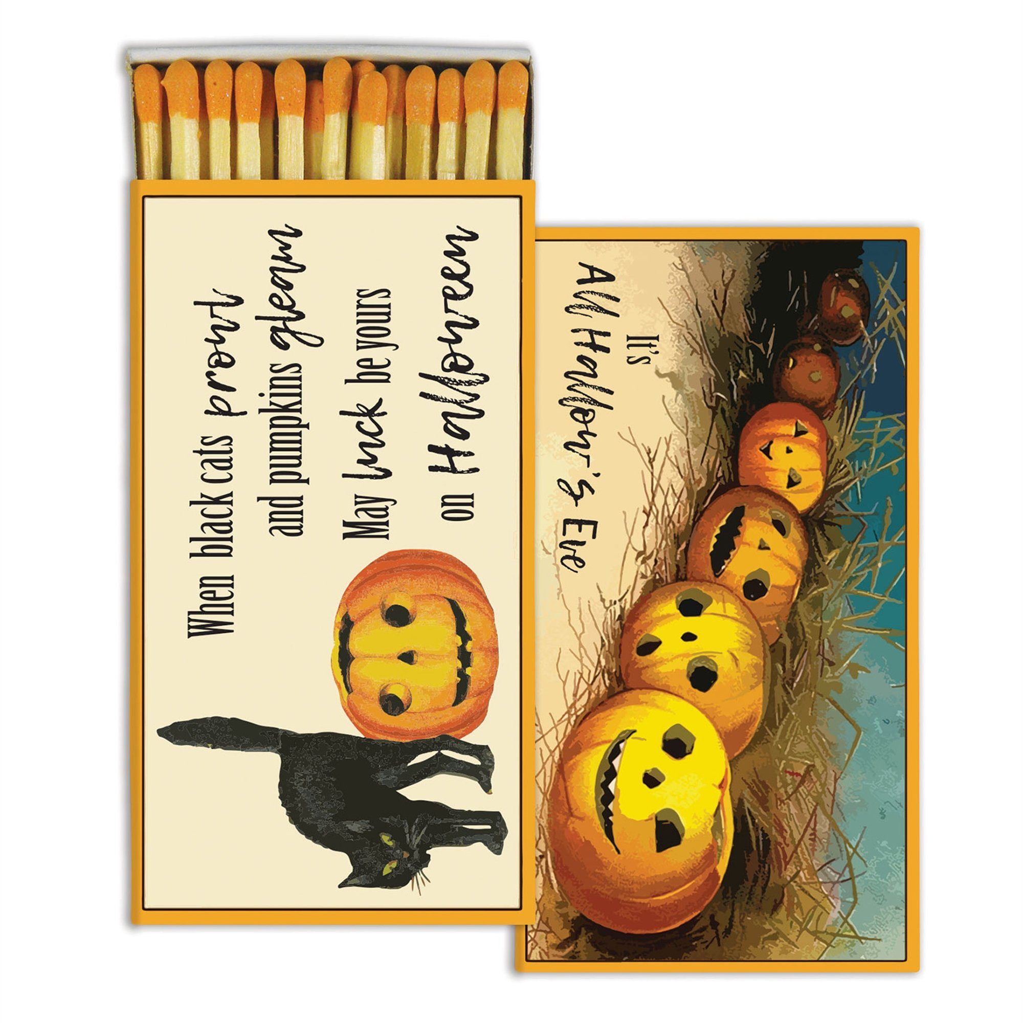 HomArt Decorative All Hallows Eve Halloween Match Boxes with Long Kitchen Matches Great for Lighting Candles, Grills, Fireplaces and More | Set of 10 Match Boxes
