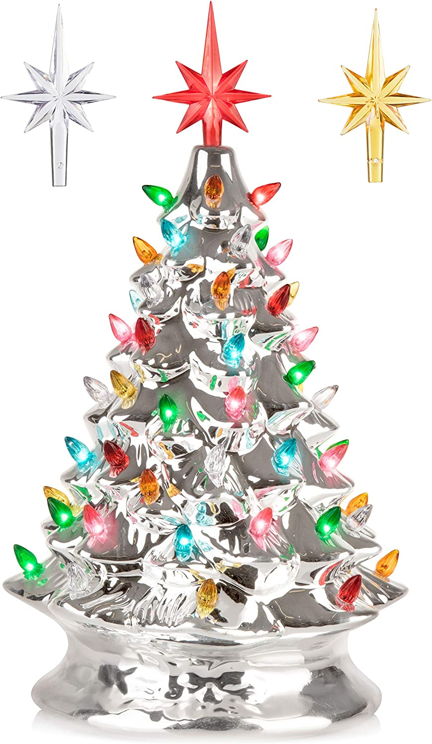 RJ Legend 15-Inch Silver Christmas Mini Ceramic Tree – Festive Lighted Christmas Tree Décor – Vintage Tabletop Christmas Decorations – Retro Winter Tree - Shiny Holidays Décor