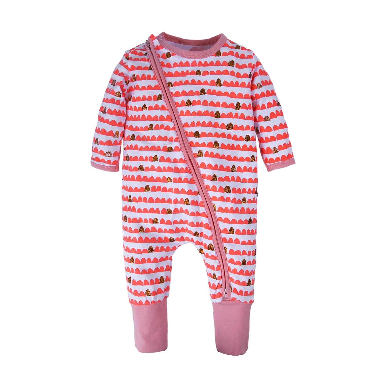 Big Elephant Baby Girls'1 Piece Long Sleeve Pajama Flower Print Zipper Romper