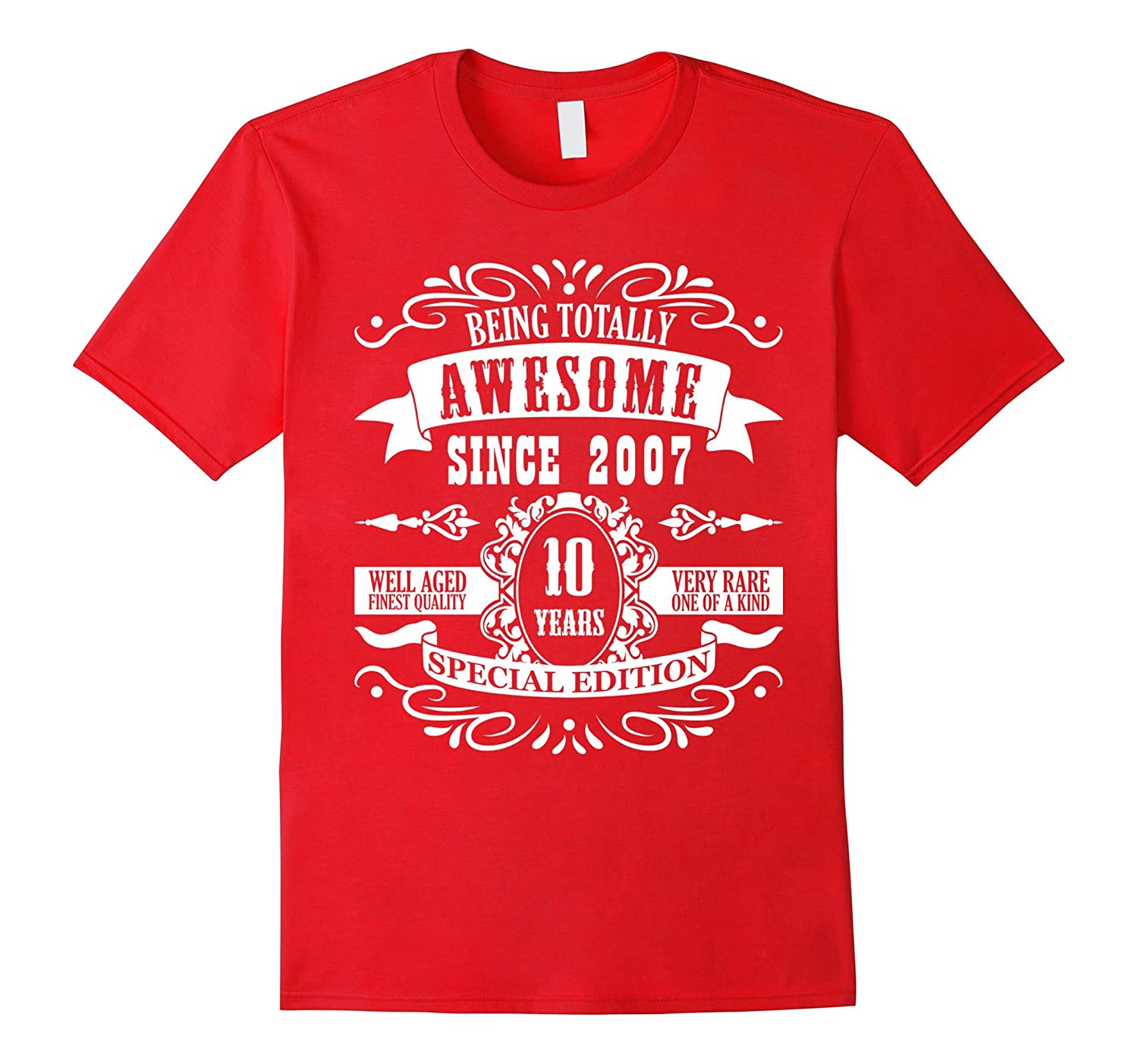 10th Birthday Gift T-Shirt Awesome Since 2007 Tee 10 yr olds-Vaci