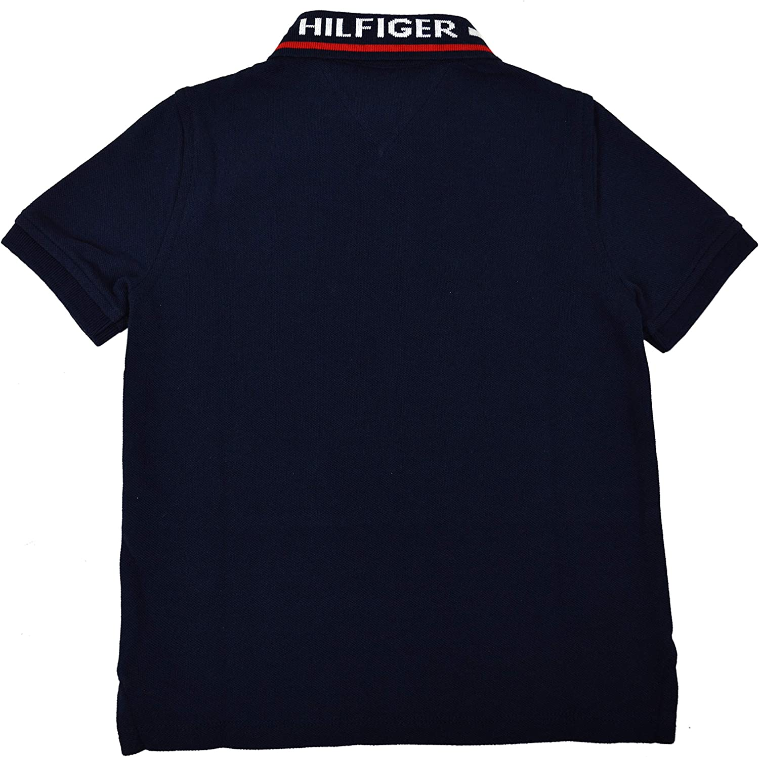 Tommy Hilfiger Boys Kids Mesh Colorblock Hilfiger Collar Polo Shirt Navy Blue White Red