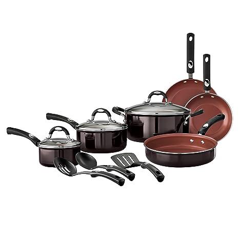 Tramontina estilo 12 piezas Batería de cocina antiadherente, negro cereza
