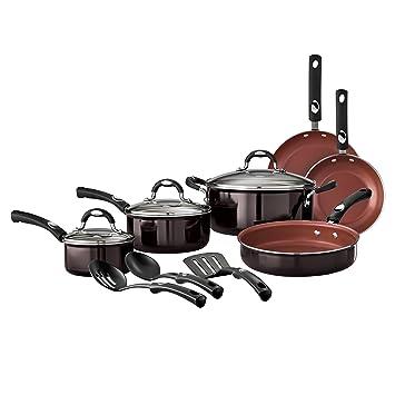 Tramontina estilo 12 piezas Batería de cocina antiadherente, negro ...