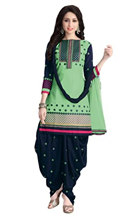 e1ba7c842f NK Fashion Women's Green & Dark Blue Colour Unstitched Embroidery Punjabi Salwar  Suit / Work Wear Awesome ...