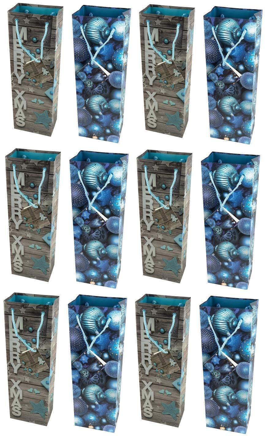 12 Stück Geschenktüte Flaschentüte, Weihnachten, Jumbo, 36 x 12 x 8cm HRB