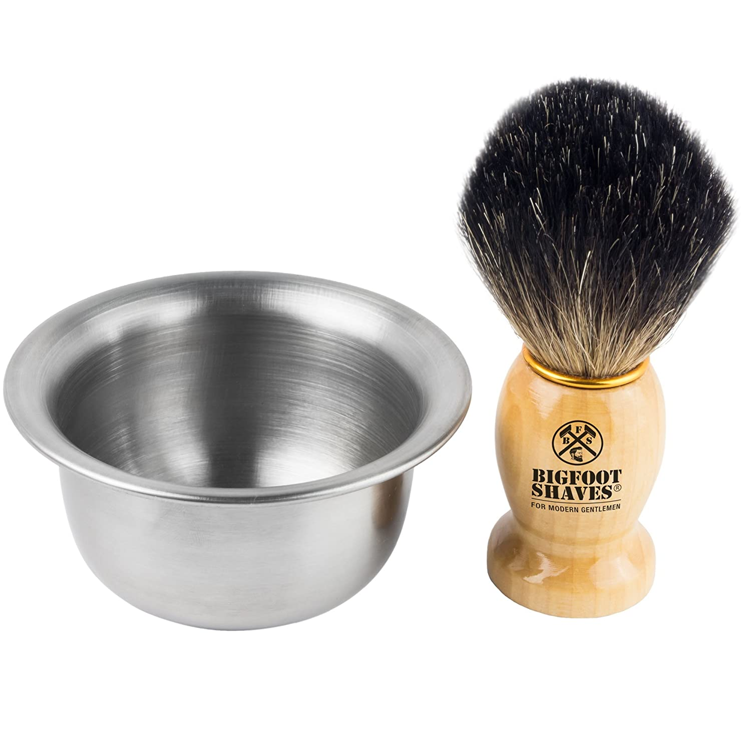 100% Pure Badger Shaving Brush and Bowl. For Guaranteed Best shave for life. Use for Old fashioned Double edge Saftey Razor and Multi Blade Razor- Made for Modern Gentlemen (Silver) Bigfoot Shaves