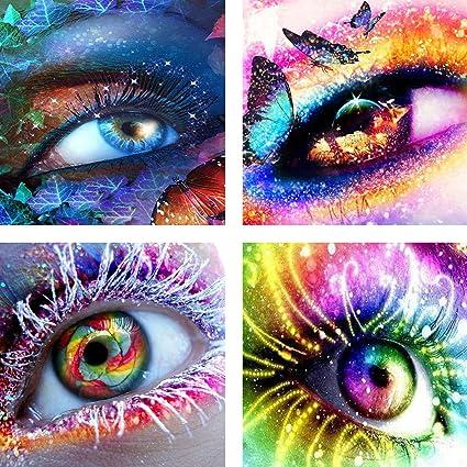 2629ee5741 Amazon.com: KOTWDQ 4 Pack 5d Diamond Painting Kits for Adults Kids Set Eyes  Full Drill Diamond dotz for Home Wall Decor