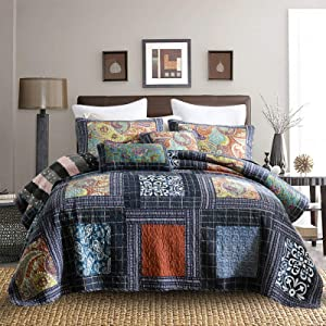 Travan Bedspread Quilt Set with Real Stitched Embroidery Luxury Coverlet Bedding Set, Blue Paisley Patchwork Pattern,Queen Size