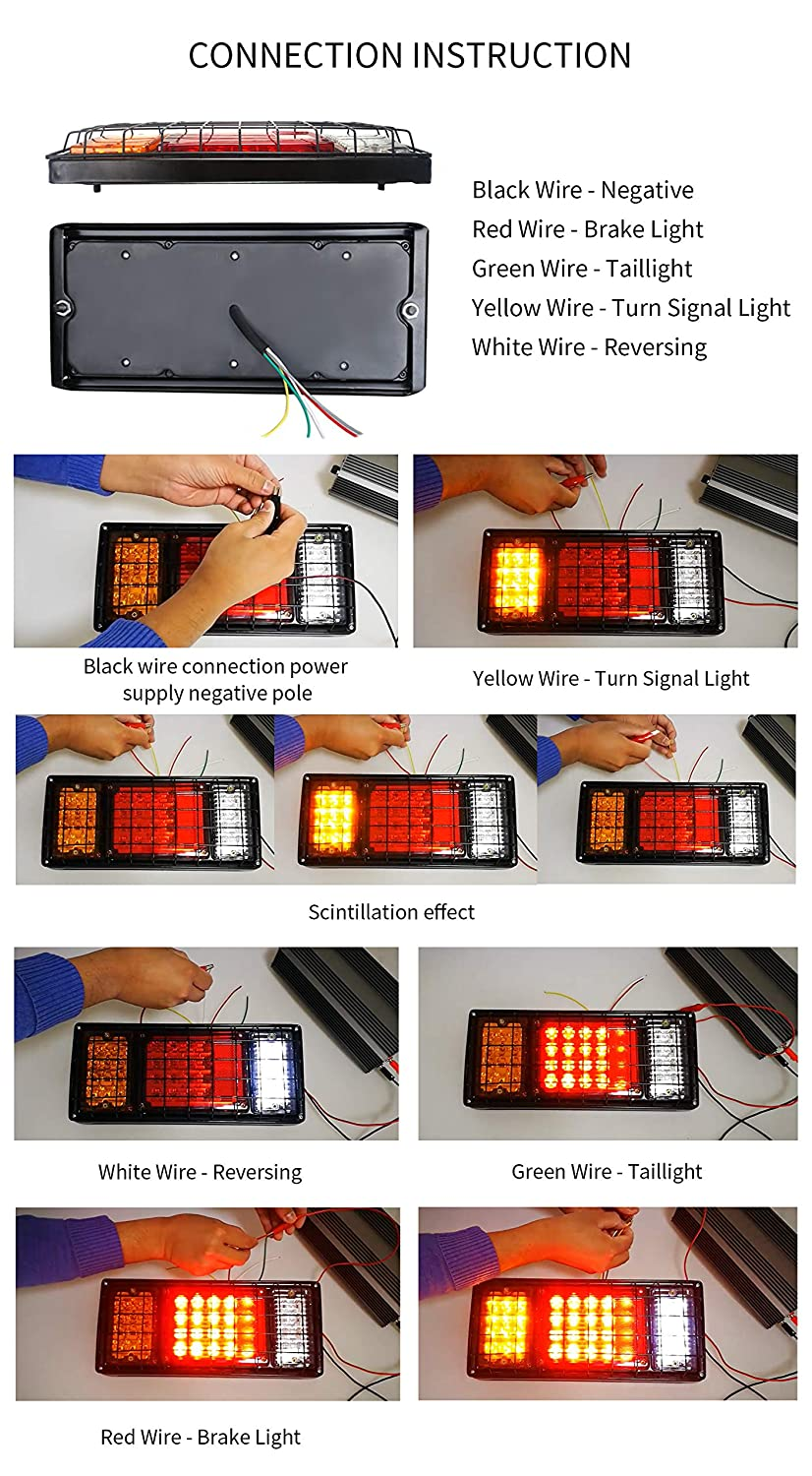 Led Truck Trailer Tail Lights With Iron Bracket Base Waterproof Wiring A Dc10 30v