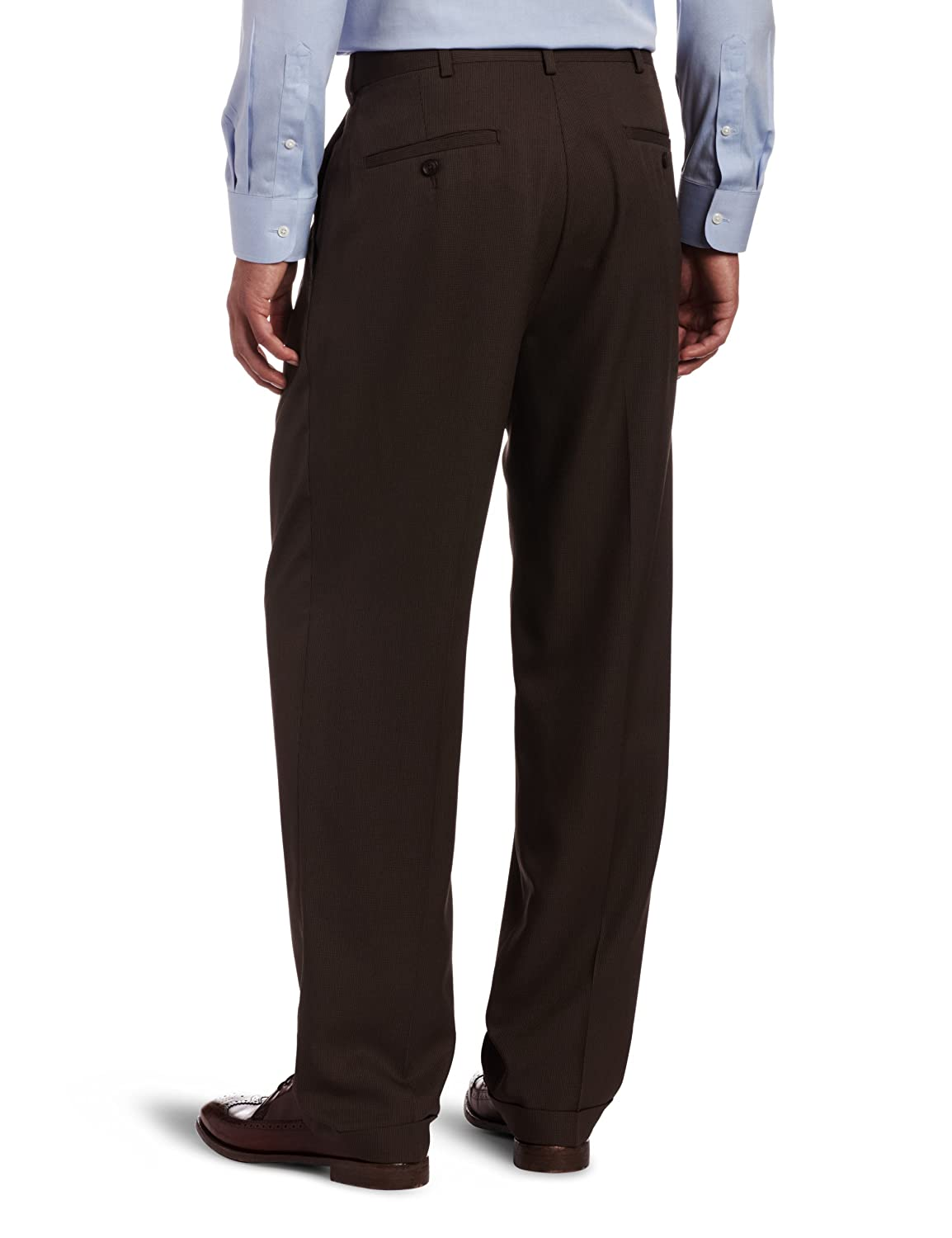 Haggar Mens Micro Houndstooth Pleat Front Expandable Waist Dress Pant HD00307
