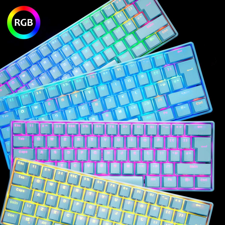 UK61 60% Teclado mecánico para Juegos Tipo C Cableado 61 Teclas Retroiluminación LED Teclado Impermeable USB Retroiluminación RGB Teclas Anti-Fantasma ...
