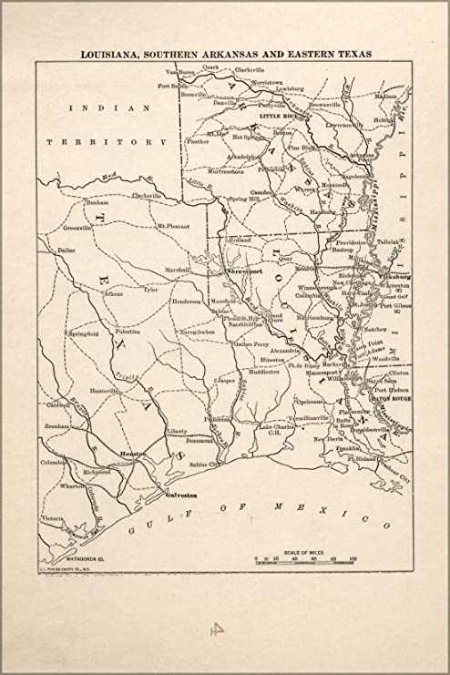 Arkansas And Louisiana Map.Amazon Com 20x30 Poster Map Of Civil War In Louisiana S Arkansas