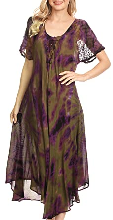 5e37564acc215 Sakkas 18682 - Ada Women Cold Shoulder Caftan Relax Long Maxi Dress on  Tie-dye with Corset - Olive - OS  Amazon.co.uk  Clothing