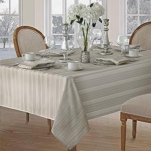 Newbridge Satin Stripe Weave No-Iron Soil Resistant Fabric Tablecloth, 70 Round, Grey