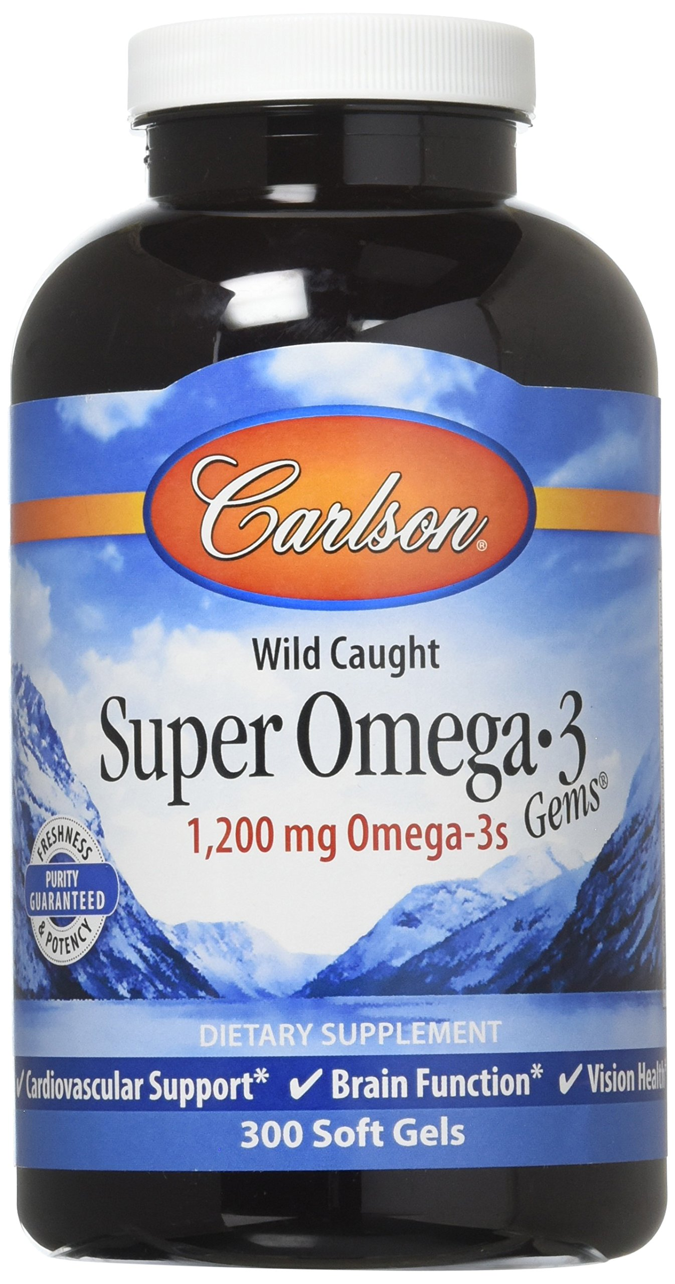Carlson Super Omega-3 Gems, Norwegian, 1,200 mg Omega-3s, 300 Soft Gels