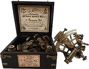 US HANDICRAFTS J. Scott London Brass Ship History Sextant with Hardwood Box.J. Scott London Brass Ship History Sextant with Hardwood Box.