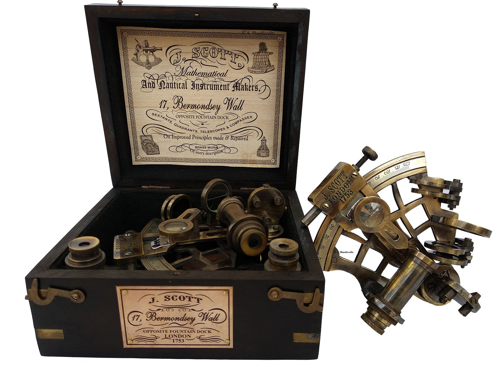 U.S Handicrafts J. Scott London Brass Ship History Sextant with Hardwood Box.J. Scott London Brass Ship History Sextant with Hardwood Box.