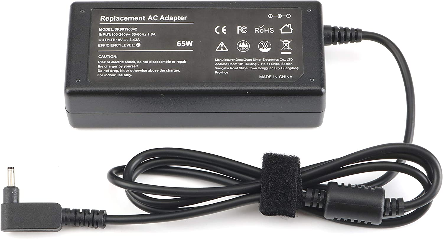 65W AC Adapter Laptop Charger for Acer Chromebook 11 13 14 15 R11 CB3 CB5 Series C720 C720P C731 Acer Aspire A515-54 R5-571T R5-571TG V3-372T R7-371T A115-31 R5-471T Swift SF314 Power Supply Cord