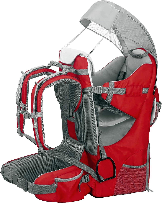 Mochila portabebés ergonómica acolchada, protección solar, cinturón, senderismo, montaña, ciudad, rojo
