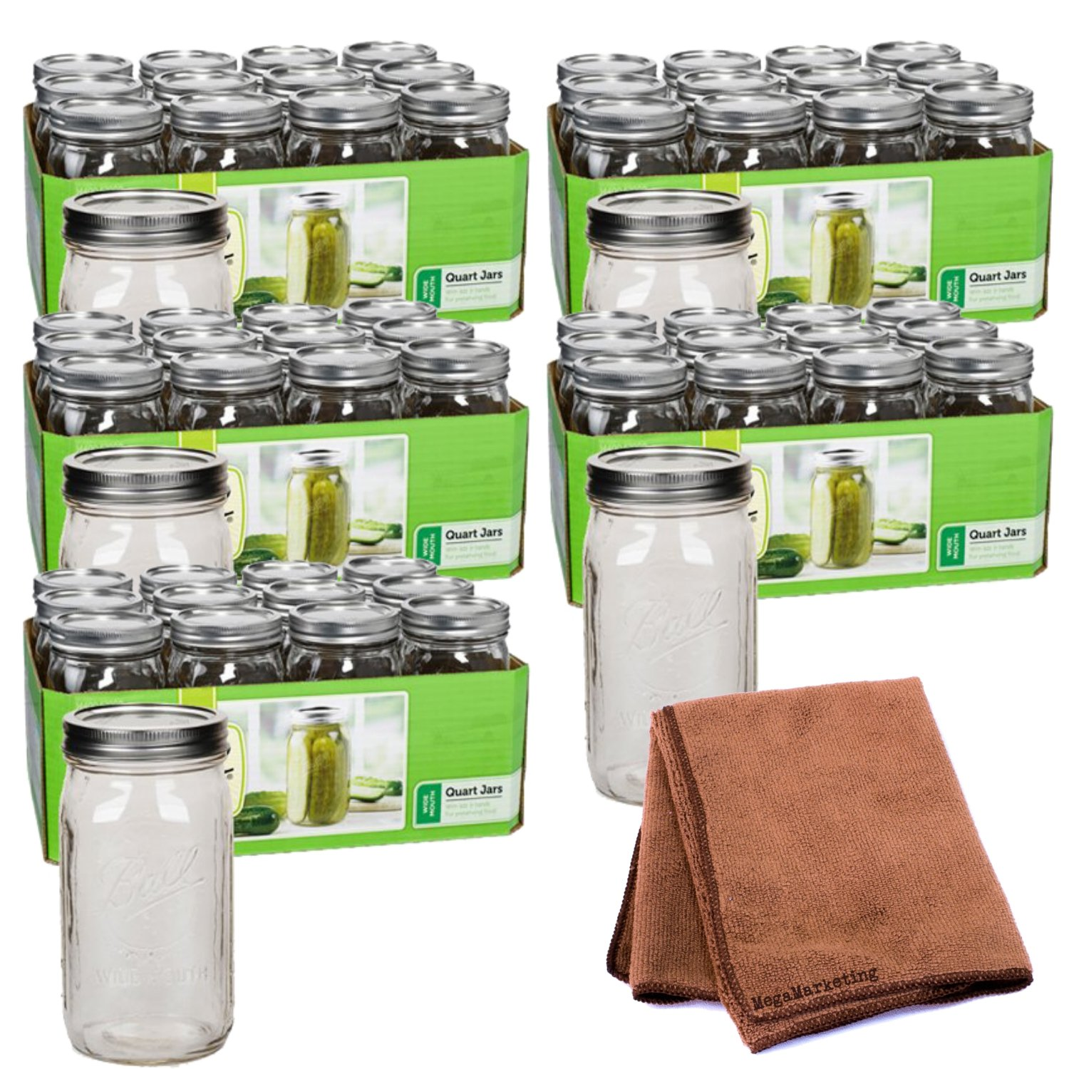 Ball Quart Jar, Wide Mouth, Set of 12 (pack of 5) with Cleaning Cloth