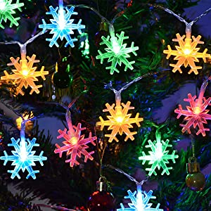 Chasgo LED Christmas Lights Battery Operated, 25Ft 50LED Snowflake String Light for Xmas Tree, Christmas Party, Room Wall, Garden Decor, Multicolor Snowflake