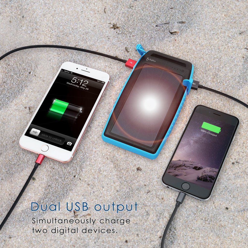 BigBlue Solar Battery Charger, 10000mAh IPX4 Waterproof Dual USB Ports Emergency Solar Powered Charger 6 LED Light Fast Charging Cellphone Tablet More Devices, Blue by BigBlue (Image #4)