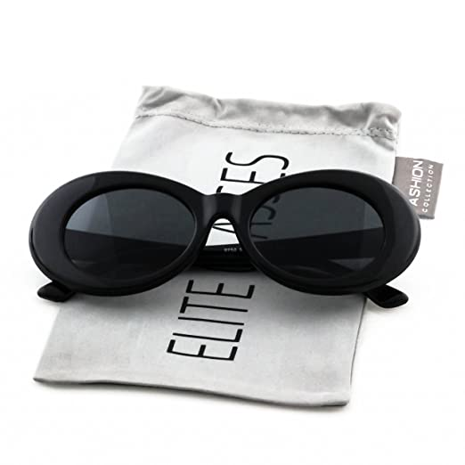 5f3bd9c60d5 Elite Black Vintage Bold Retro Oval Mod Thick Frame Sunglasses Clout Goggles  with Round Lens 51mm