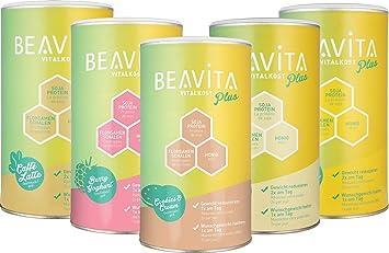 BEAVITA Vitalkost Plus | Paquete con todos los sabores | 5x 572g | Frambuesas, Cookies & Cream, Café, Mango Lassi & Vanilla Chai | Suplemento con ...