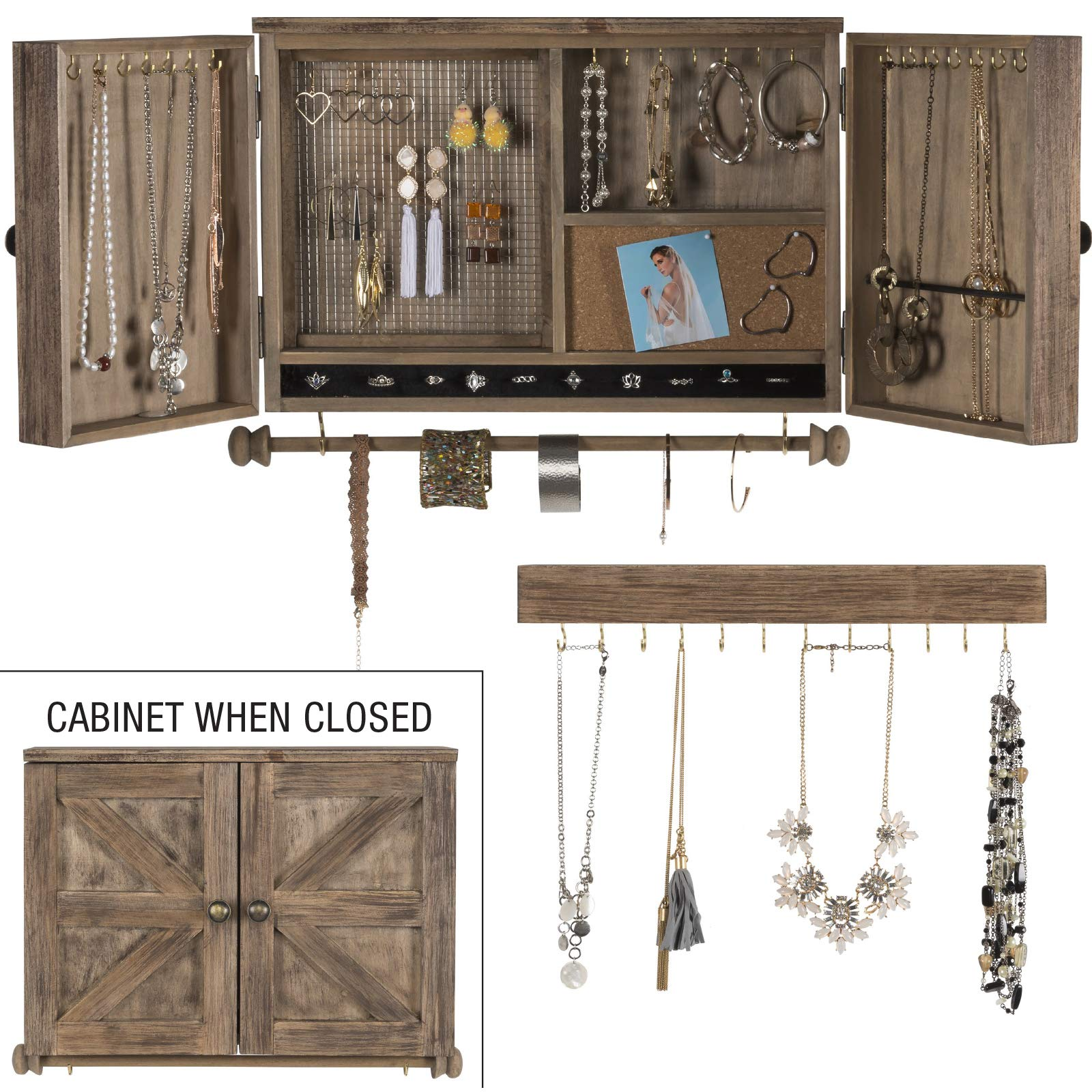 Rustic Wall Mounted Jewelry Organizer with Wooden Barndoor Decor. Jewelry holder for Necklaces, Earings, Bracelets, Ring Holder, and Accessories. Includes hook organizer for hanging jewelry (Brown) by Excello Global Products