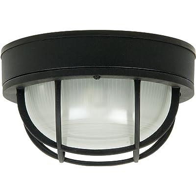 "Craftmade Z395-TB Bulkhead Outdoor Retro Flush Mount Ceiling Lighting, 1-Light 100 Watt (10""W x 6""H), Matte Black"