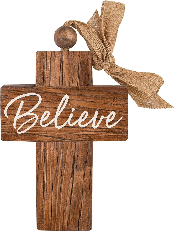 P. Graham Dunn Believe Natural Brown 6.9375 x 4.75 Wood Decorative Hanging Cross Wall Sign