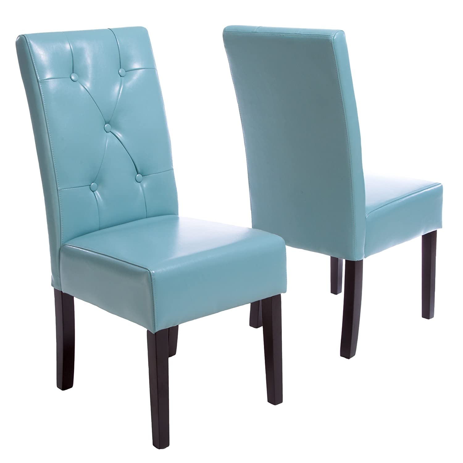 Amazon Alexander Teal Bonded Leather Dining Chair Set of 2