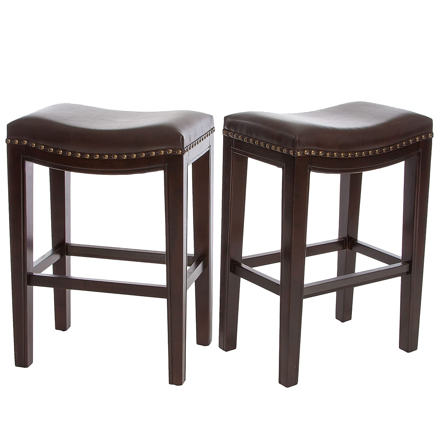 amazoncom jaeden backless brown leather counter stools (set of   - amazoncom jaeden backless brown leather counter stools (set of )kitchen  dining