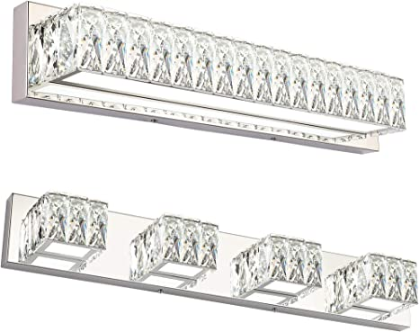 Zuzito Crystal Bathroom Vanity Lighting Fixtures Modern Led Vanity Light Over Mirror 6000k Amazon Com