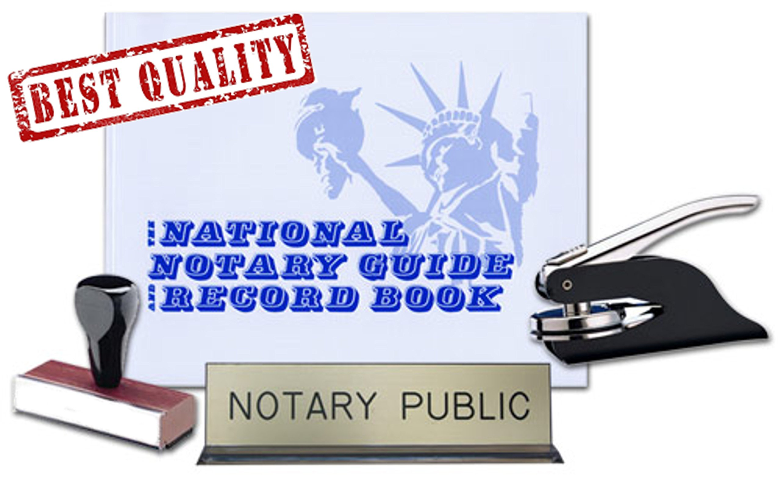 Wyoming Notary Public Desk Sign, Record Book, Black Pocket Seal Embosser, Traditional Rubber Hand Stamp Value Package