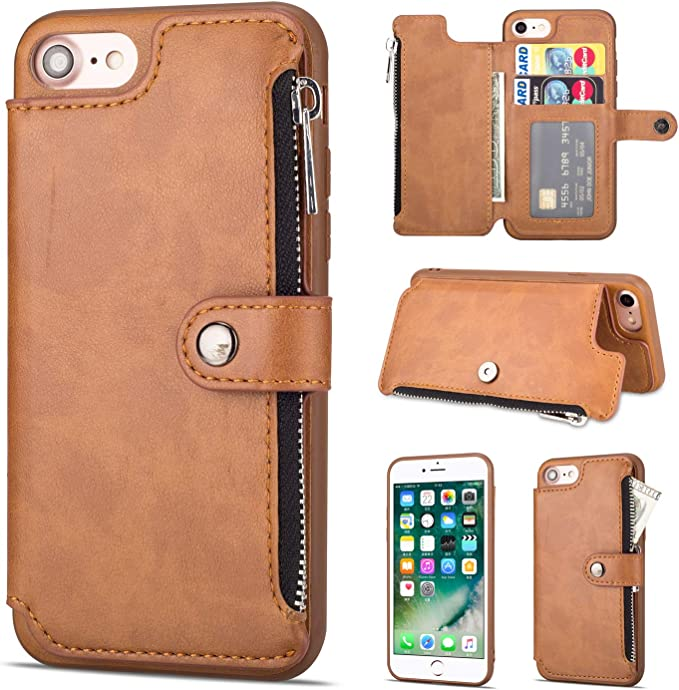 Custodia a portafoglio con cerniera per iPhone 7/iPhone 8, iPhone ...