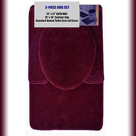 burgundy toilet seat cover. BURGUNDY 3 Piece Bathroom Set  1 19 Quot X 31 Bath Mat Amazon Com Rug