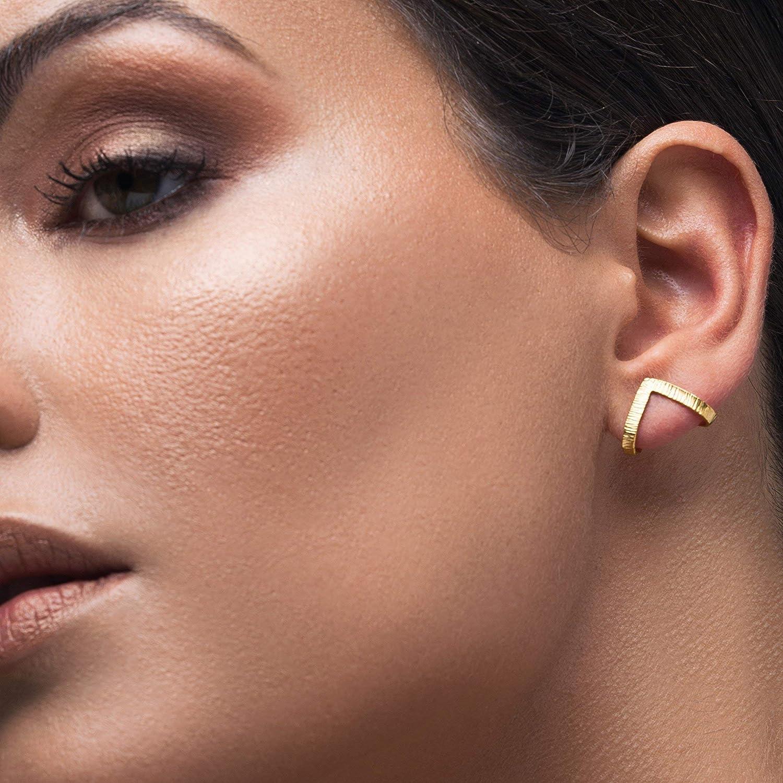 Pair of gold earring studs minimalist mothers day gift for her mom jewelry huggie earrings for women geometric earrings hypoallergenic earrings triangle earrings unusual Emmanuela®