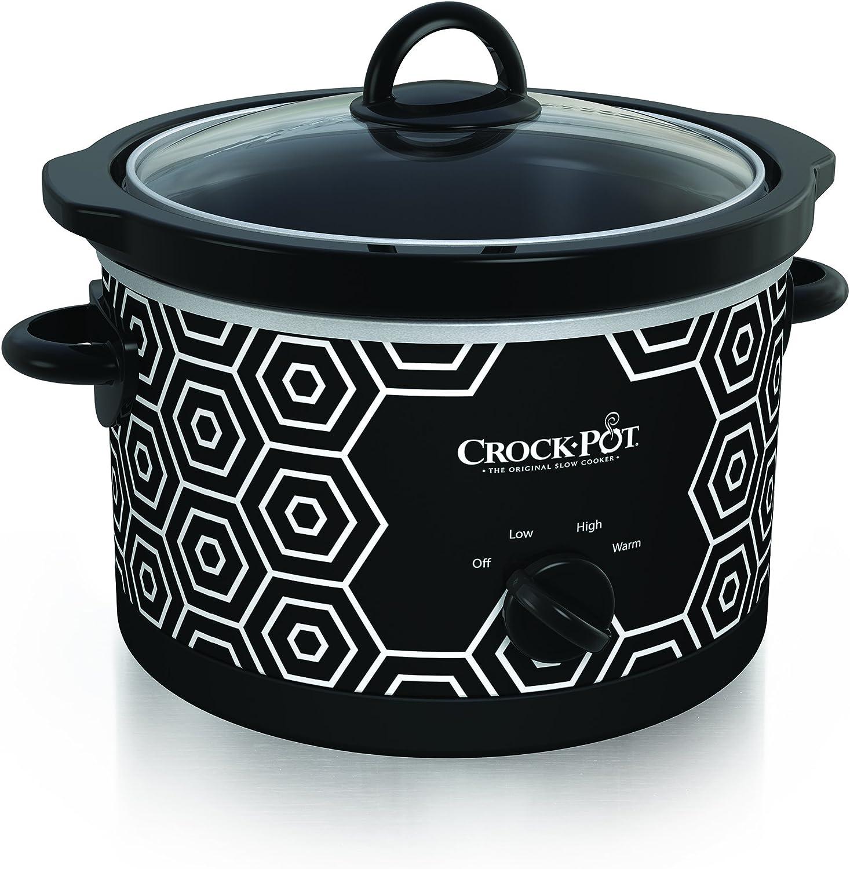 Crockpot Round Slow Cooker, 4.5 quart, Black White Pattern SCR450-HX